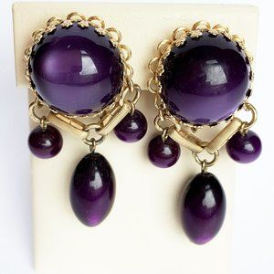 Vintage Purple Lucite Moonglow Clip Earrings